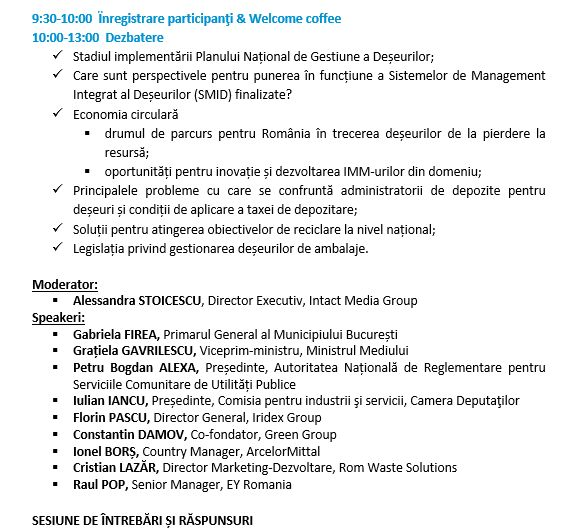 agenda finala 20 martie